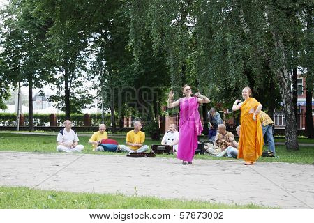 Perm, Russia - Jun 10, 2012: Krishna Worshipers Dance In Square Of Ural Volunteers.