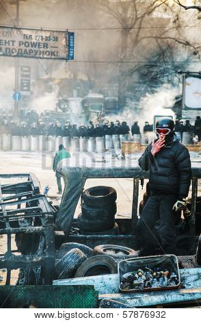 A Protester Staying On The Barricade In Kiev