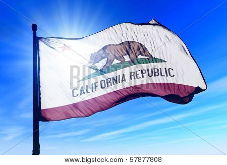 California (USA) flag waving on the wind