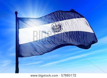 El Salvador flag waving on the wind