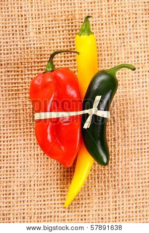 Bundle Of Hot Pepper Varieties Of Jute Background