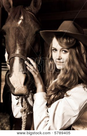 Beautiful Girl With Her Horse