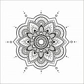picture of henna tattoo  - Indian circle floral mandala for design or mehendi - JPG