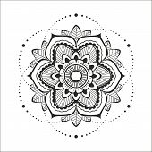 picture of henna tattoo  - Indiah circkle floral mandala for mehendi or design - JPG