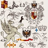 foto of winged-horse  - Vector set of luxury royal vintage elements for your heraldic design - JPG