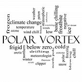 stock photo of frostbite  - Polar Vortex Word Cloud Concept in black and white with great terms such as cold wind chill ice and more - JPG