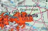 A closeup of Leeds in England on the map