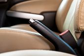 stock photo of truck-stop  - Hand brake in a car - JPG