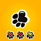 picture of painted toes  - Paw print with heart in different colors - JPG