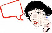 Girl In Speaking. Popart Cartoon. poster