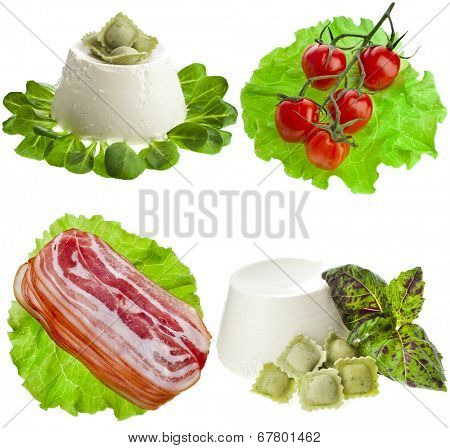 Heap of fine delicious snacks foods Isolated on white background