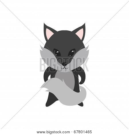 Flat Vector Cartoon Illustration Of Cute Wolf Posing