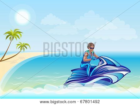 Man Sitting On Water Scooter, Jet Ski