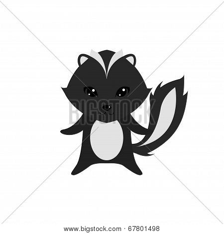 Flat Vector Cartoon Illustration Of Cute Skunk Posing
