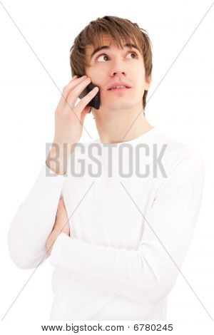 Young Man Talking By Mobile Phone