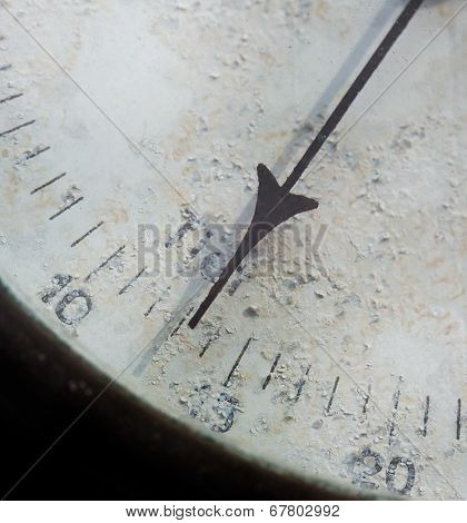 Meter Needle Old Barometer Closeup