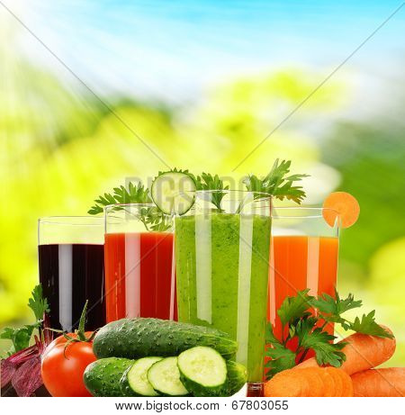 Glasses With Fresh Vegetable Juices. Detox Diet