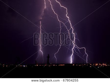 Lightning At Night Over City