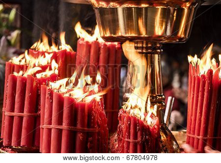 Red Candles In Temple