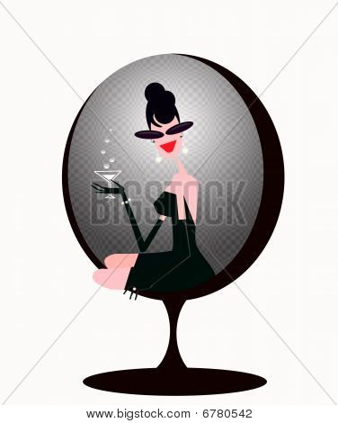 stylish  woman drinking martini