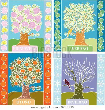 Seasons summer, winter, spring, autumn