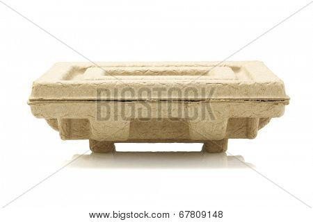 Recycled Paper Pulp Protective Packaging on White Background
