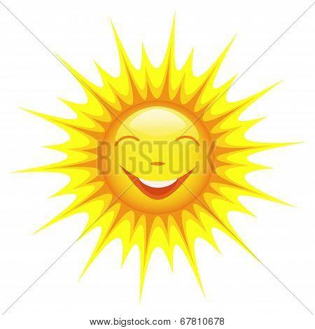 Smiling Sun Isolated On White Background