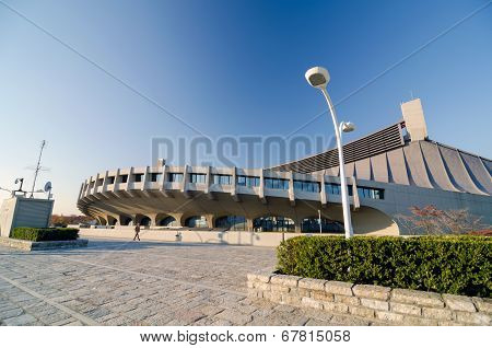 TOKYO, JAPAN - NOVEMBER 20 : Exterior of  Yoyogi National Gymnasium In Harajuku, Tokyo, Japan