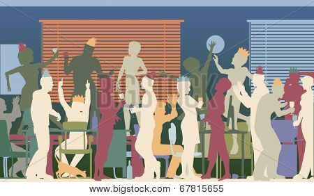 Colorful illustrated silhouettes of business people at an office party