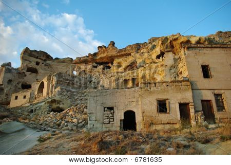 Half-ruined Rocky Houses In Cappadocia