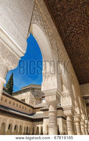 Detail of the famous Alhambra palace Granada Andalusia Spain.