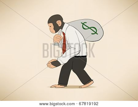 Monkey with money sack