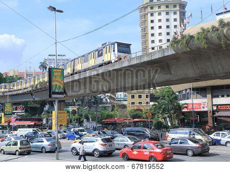 Traffic Jam and monorail Kuala Lumpur