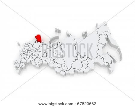 Map of the Russian Federation. Murmansk region. 3d