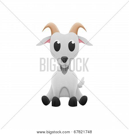 Cute Goat Is Animal Cartoon In Farm And Zoo Of Paper Cut