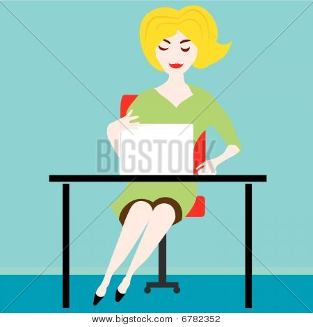 Blond girl on the computer