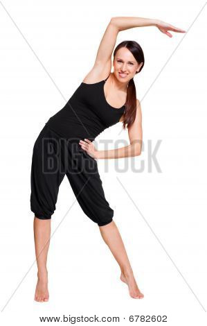 Woman Doing Sporty Exercises. Isolated On White