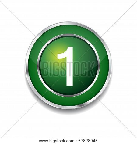 1 Number Circular Vector Green Web Icon Button