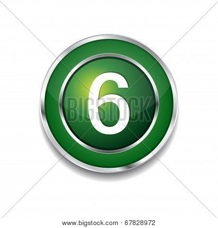 6 Number Circular Vector Green Web Icon Button
