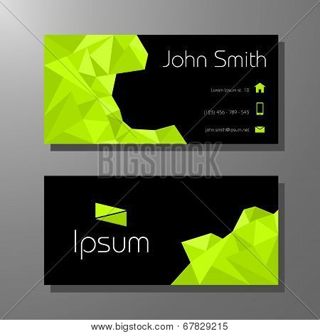 Business card polygon style - green and black