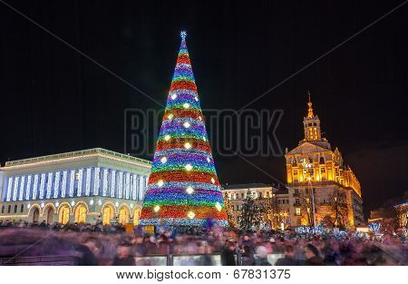 Christmas Tree On Maidan Nezalezhnosti In Kiev, Ukraine