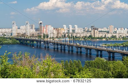 View Of Paton Bridge And Left Bank Of The Dnieper River In Kyiv, Ukraine