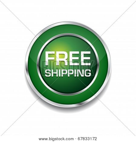 Free Shipping Glossy Shiny Circular Vector Button