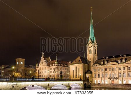 Old Town Of Zurich At Night - Switzerland