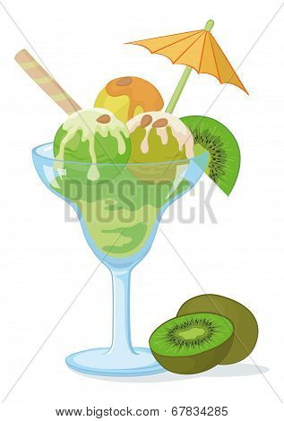 Glass with ice cream, kiwifruit and nuts