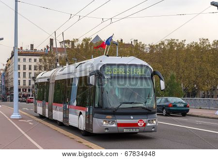 Lyon, France - November 1 :trolleybus On Lafayette Bridge On November 1, 2013 In Lyon, France. Lyon
