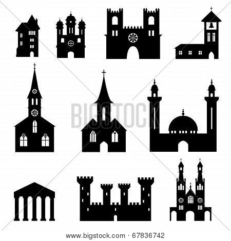 Bundle of church and castle silhouettes