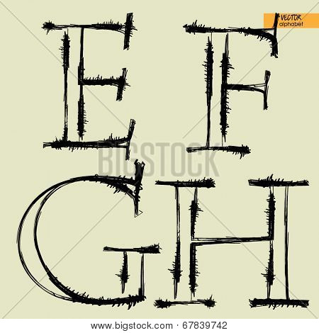 art simple classical alphabet in vector, silhouette black grunge handmade font, letters E, F, G, H