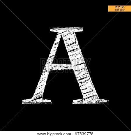art simple classical alphabet in vector, chalk white handmade font on black back, letter A