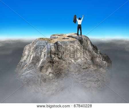 Money Symbol Shape Rocky Mountain With Cheering Businessman